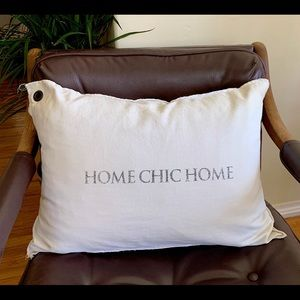 "Other - White cotton canvas pillow cover ""Home Chic Home"""